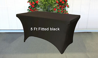 Folding Tablecloth Trestle Table cover spandex Fitted Black 5ft foot wedding