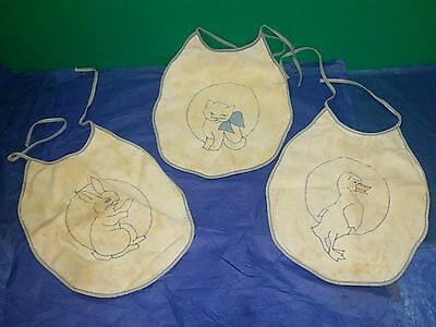 "Vintage 1950's 3 Bunny- Kitten- Duck- Infant- Baby Bibs- Blue Edging 11"" X 9"" *"