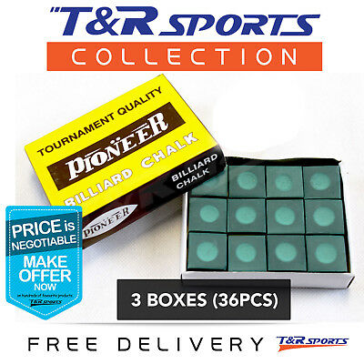 Pioneer Pro 3 Boxes 36pcs Green Chalk + Holder Pool Snooker Billiard Free Post