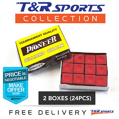 Red Pioneer 2 Boxes 24x Pool Snooker Billiard Chalk + Holder Free Post Formula