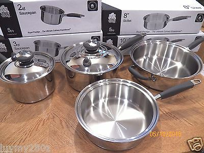 NEW ROYAL PRESTIGE 5 PLY T304S Surgical Stainless Waterless Cookware Set