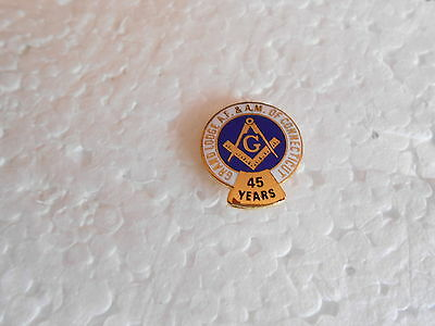 Vintage Grand Lodge of Connecticut AF & AM 45 Years Member Masonic Lapel Pin
