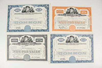 PACKARD / STUDEBAKER MOTOR CAR CO. ~   4 Auto Stock Certificates (c1950-54)