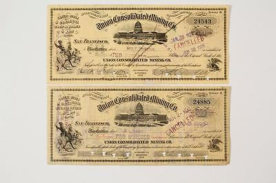 Nevada (Comstock) ~ UNION CONSOLIDATED MINING CO.  ~ stock certificates 1927/28