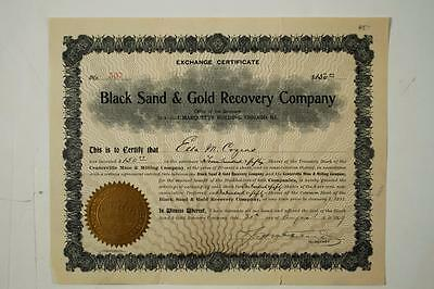 RARE PLACER GOLD STOCK CERTIFICATE - Black Sand & Gold Recovery Company