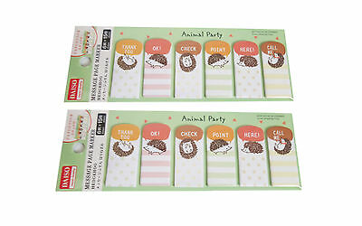 2 Pack of Hedgehog Sticker Post-it Bookmark Sticky Memo Flags Index Tab