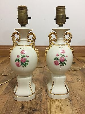 Vintage Two Porcelain Gold Gilt Urn Style Double Arm Table Lamp Painted  Flowers