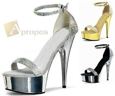 Plateau High Heels Pumps 10cm Stiletto Abendschuhe Satin Strass Gold Silber