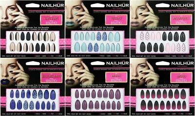 Nailhur Stiletto Designs #4 - Almond Press On Resusable Nail Tips Kit with Glue