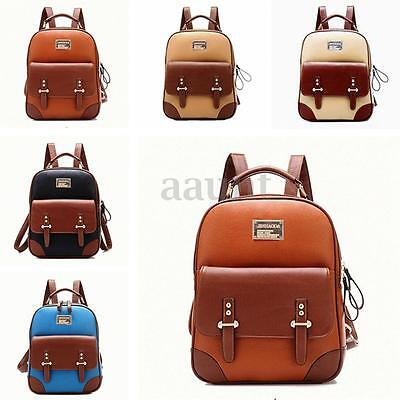 US Women Leather Backpack School Bookbag Travel Rucksack Shoulder Bag Satchel