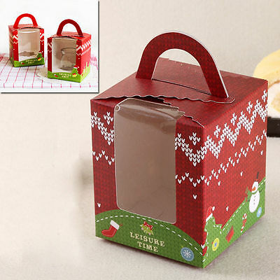 Christmas Food Boxes Presentation Gift Bags For Cupcakes Party Muffin Cake 10Pcs