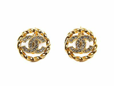 Authentic Chanel wreath Rhinestone CC logo clip on Gold earrings
