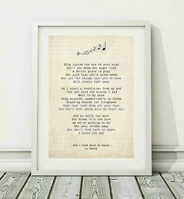 261 Oasis - Don't Look Back In Anger - Song Lyric Art Poster Print - Sizes A4 A3