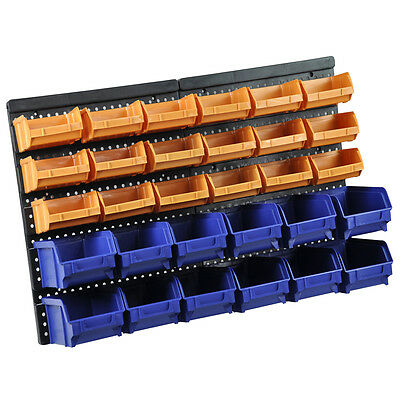30 Plastic Bin Wall Mounted Garage Storage Organiser Shed Bench Workshop Rack
