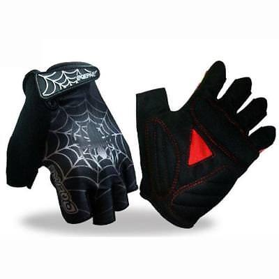 Goth Bicycle Cycling Motorcyle Sport Spider Racing Work Fingerless Gloves Xl M L