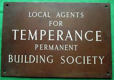 "Genuine Brass Vintage Antique Sign Plaque TEMPERANCE BUILDING SOCIETY  12"" X 8"""