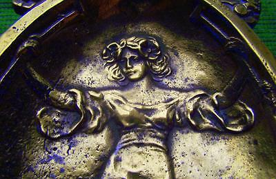 c1900 Vintage Arts Crafts Nouveau Brass French Maiden with Hair Garland Pin Tray