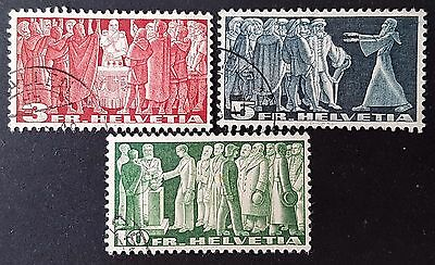 Switzerland 1942 Sc # 284a to Sc # 286a VFU NH Used Stamps Collection