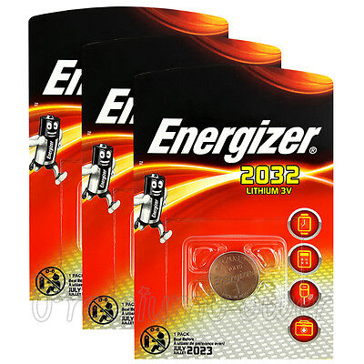 3 x Energizer Lithium CR2032 batteries 3V Coin cell DL2032 Alarms Watch EXP:2023