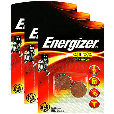 6 x Energizer Lithium CR2032 batteries 3V Coin cell DL2032 EXP:2023 Pack of 2