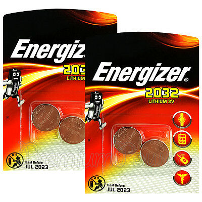 4 x Energizer Lithium CR2032 batteries 3V Coin cell DL2032 EXP:2023 Pack of 2