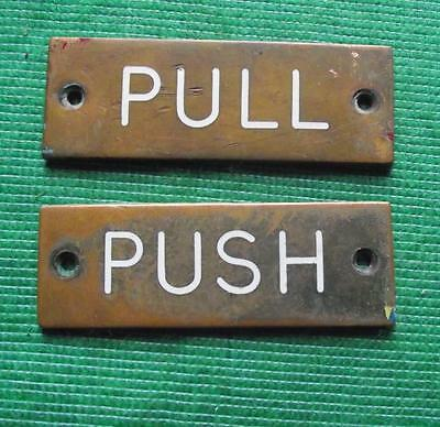 Genuine Brass Vintage Industrial Antique Signs Plaque Office : PUSH / PULL