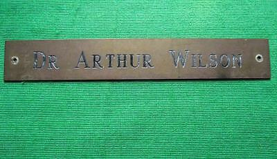 "Old Brass Vintage Sign Plaque Doctor Arthur Wilson Surgeon Physician 12"" X 1.75"""