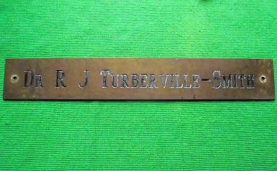 "Old Brass Vintage Sign Plaque Dr Turberville Smith Surgeon Physician 12"" X 1.75"""