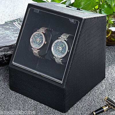 Auto Silent Watch Winder Irregular Shape Transparent Cover Wristwatch Box