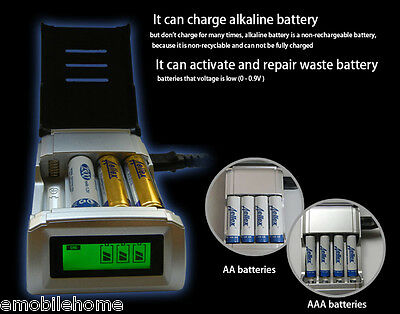 C905W 4 fentes Chargeur LCD pour AA / AAA NiCd NiMh Batteries EU Plug