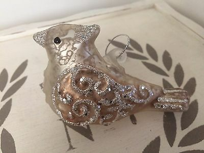 Silver/bronze vintage style BIRD Christmas tree GLASS BAUBLE decoration