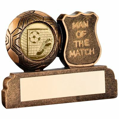 JR1-RF169 Brz/Gold Resin Football 'Man Of The Match' Trophy - 2.5in + Engraving