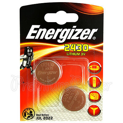 2 x Energizer Lithium CR2430 batteries 3V Coin cell DL2430 ERC2430 Pack of 2