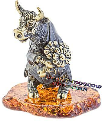 Bronze Solid Brass Amber Figurine Humor Bull with a Bouquet Miniature 1759