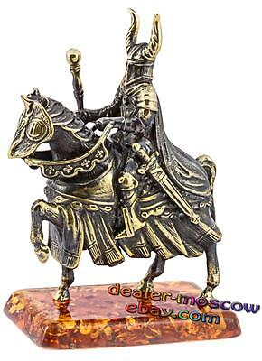 Bronze Solid Brass Amber Figurine Rider Knight Crusader with a Mace 1308