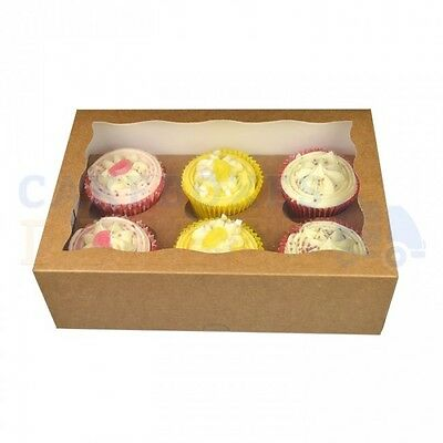 6 Premium Cupcake Box + Divider Cheapest On Ebay Choose Your Qty & Colour