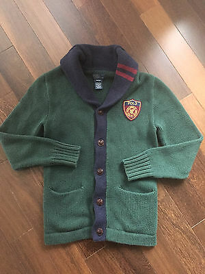 $125 Polo Ralph Lauren Boys Varsity Crest Cardigan Sweater - M (10-12)