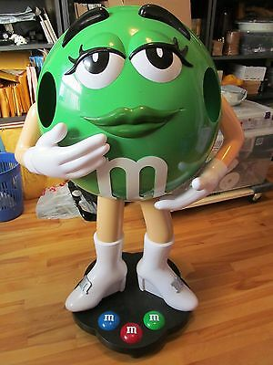 Collectible Rare 3 ft GREEN M&M M and M Candy Character Store Display on Wheels
