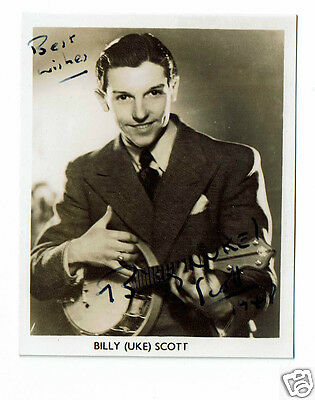 Billy Uke Scott Radio and Theatre Hand signed 3 x 2 inch Vintage Photograph