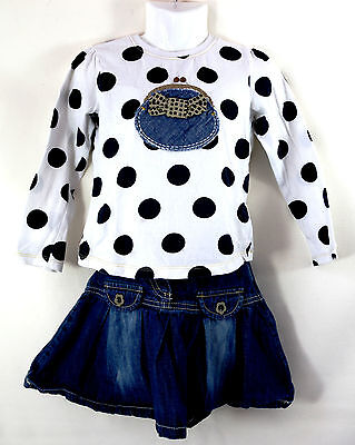 Next Denim Skirt Long Sleeved Polka-Dot I Love Shopping Purse Top Age 2-3 Years