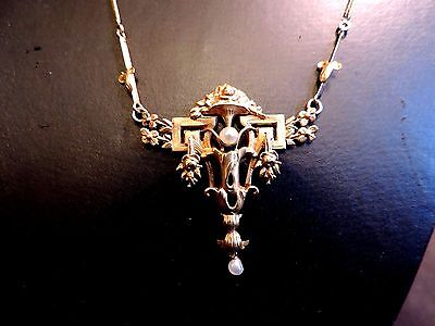 Rare Collier Ancien Pendentif 19 Eme Perles Fines Or 18 / Vintage Gold Necklace