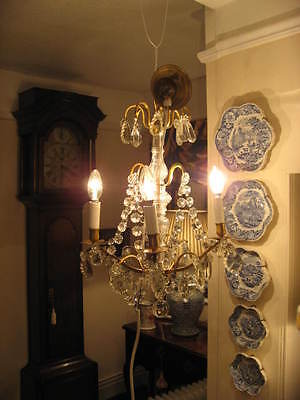 French Vintage - Antique 4 Branch Chandelier & Crystal Drops Outstanding  /3852