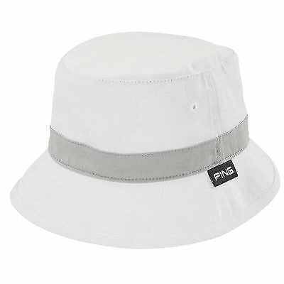 New 2016 PING Bucket Hat Cap COLOR: White / Grey SIZE: Small/Medium