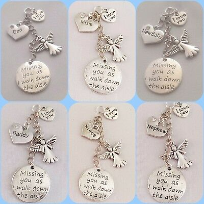 `Missing you as I walk down the aisle` BOUQUET memory charm Wedding Bride