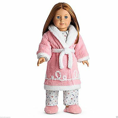 New Genuine American Girl Doll Emily's Pink Robe & Slippers Outfit Set
