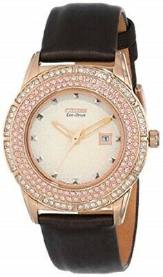Citizen Eco Drive FE1113-03A Crystal Bezel Rose Gold Tone Leather Women's Watch
