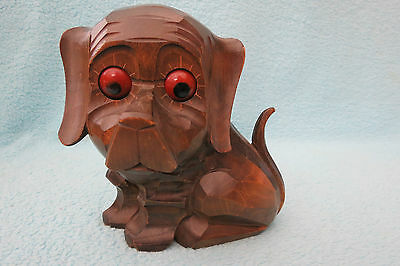 Rare Antique Oswald Rotating Eyes Spring Driven Carved Black Forest Dog Clock