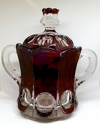 EAPG Ruby Stained New Martinsville Glass Sugar Bowl & Lid, Placid Thumbprint 704
