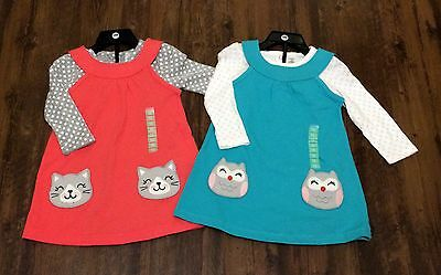 Carter's Girl's 2 Piece Long Sleeve Bodysuit And Cat/owl Pocket Jumper Dress Set