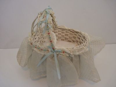 Darling Vintage White Wicker Doll Bed for 5-7 inch Doll with Dotted Swiss Skirt